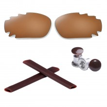 New Walleva Polarized Vented Brown Lenses +Brown Earsock+ Brown Bolt For Oakley Jawbone