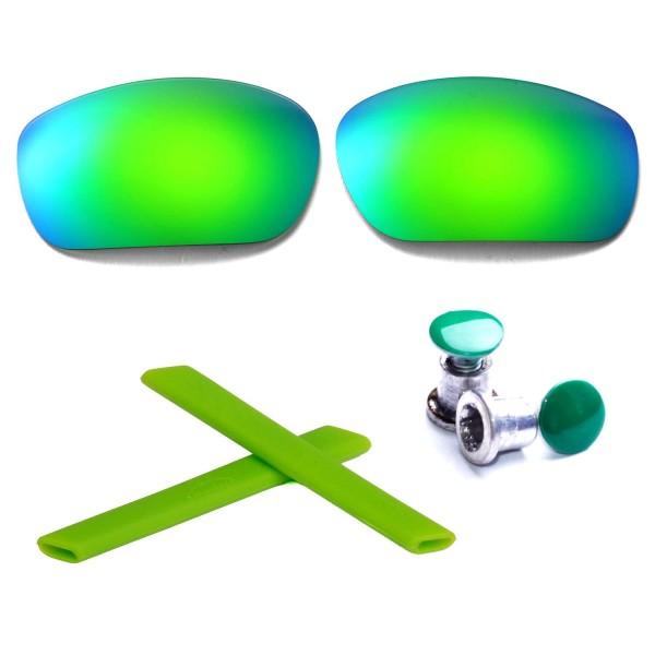 oakley green lenses sbcx  New Walleva Polarized Emerald Lenses + Green Earsocks + Green Bolt For  Oakley Racing Jacket