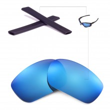 Walleva Polarized Ice Blue Lenses + Black Rubber for Okaley Racing Jacket