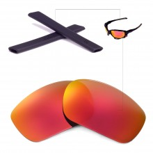 New Walleva Polarized Fire Red Lenses + Black Rubber for Okaley Racing Jacket