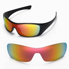 Walleva Replacement Lenses for Oakley Antix Sunglasses - Multiple Options Available (Fire Red Mirror Coated - Polarized)
