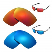New Walleva Polarized Fire Red +Ice Blue Replacement Lenses For Oakley Badman Sunglasses