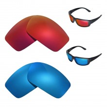 New Walleva Polarized Fire Red + Ice Blue Replacement Lenses For Oakley Crankshaft Sunglasses
