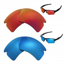 New Walleva Polarized Fire Red + Ice Blue Replacement Lenses For Oakley Flak 2.0 XL Sunglasses