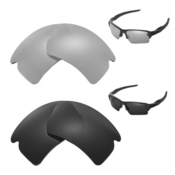 flak oakley replacement lenses t8rc  New Walleva Polarized Titanium + Black Replacement Lenses For Oakley Flak  20 XL Sunglasses