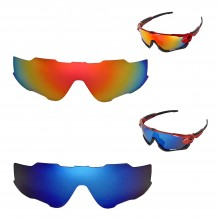 New Walleva Polarized Fire Red + Ice Blue Replacement Lenses For Oakley Jawbreaker Sunglasses
