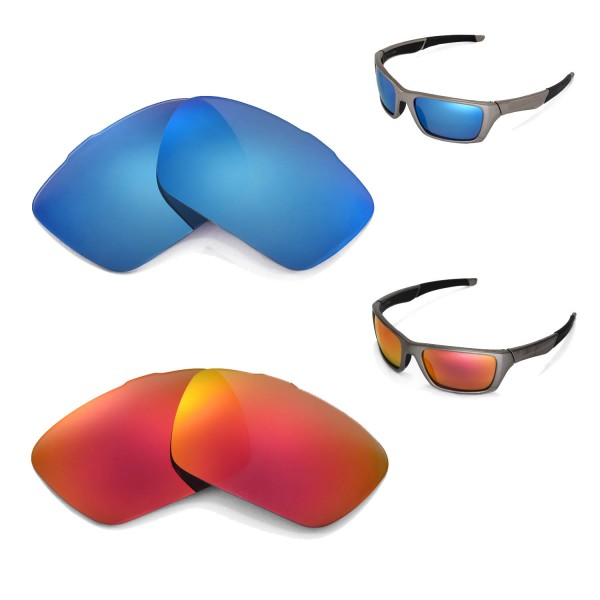 oakley jury sunglasses  Walleva Polarized Fire Red + Ice Blue Replacement Lenses for ...