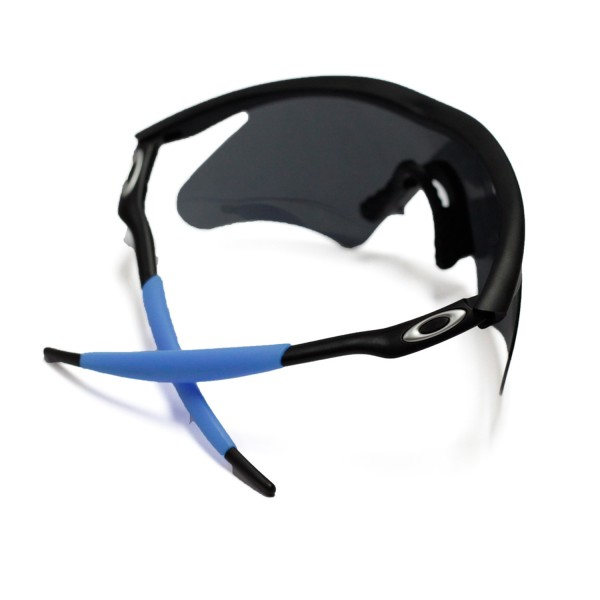 walleva blue earsocks and black nose pads for oakley m frame sunglasses