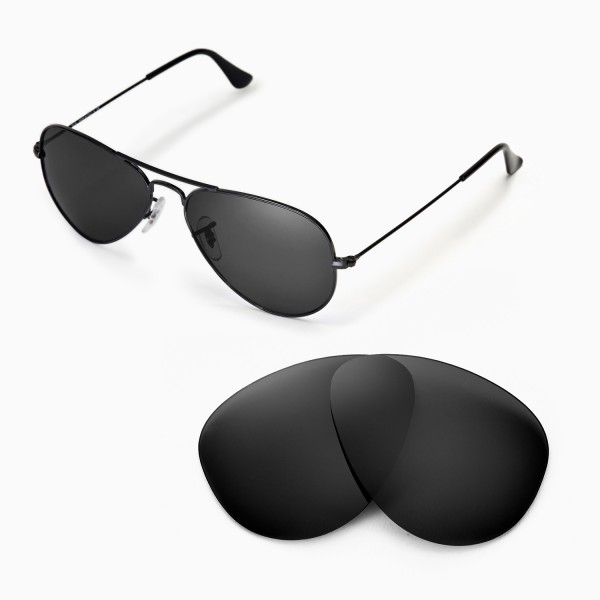 ray ban aviator 55mm polarized  New Walleva Polarized Black Lenses For Ray-Ban Aviator Large Metal ...