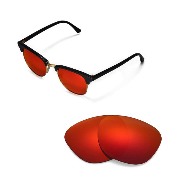 ray ban clubmaster lenses 890g  New Walleva Polarized Fire Red Replacement Lenses For Ray-Ban Clubmaster  RB3016 49mm Sunglasses