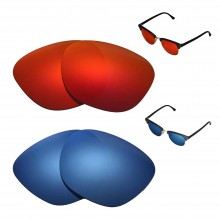 New Walleva Polarized Fire Red + Ice Blue Replacement Lenses For Ray-Ban Clubmaster RB3016 49mm Sunglasses