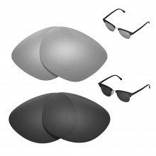 New Walleva Polarized Titanium + Black Replacement Lenses For Ray-Ban Clubmaster RB3016 49mm Sunglasses