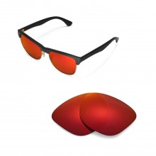 New Walleva Polarized Fire Red Replacement Lenses For Ray-Ban Erika RB4171 54mm Sunglasses