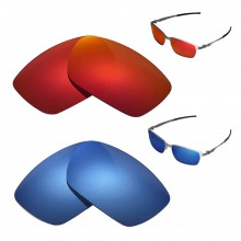 New Walleva Polarized Fire Red + Ice Blue Replacement Lenses For Oakley Tinfoil Sunglasses