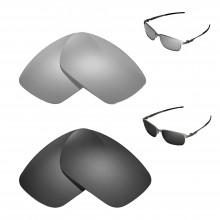 New Walleva Polarized Titanium + Black Replacement Lenses For Oakley Tinfoil Sunglasses