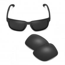 Walleva Mr.Shield Polarized Black Replacement Lenses for Oakley Holbrook Sunglasses