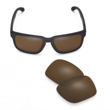 Walleva Mr.Shield Polarized Brown Replacement Lenses for Oakley Holbrook Sunglasses