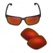 Walleva Mr.Shield Polarized Fire Red Replacement Lenses for Oakley Holbrook Sunglasses