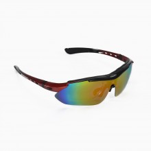 Walleva WSG001-FR Fire Red Polarized Sunglasses With TR90 Frame, Prescription Lenses Insert, Hat Clip And Removable Arms