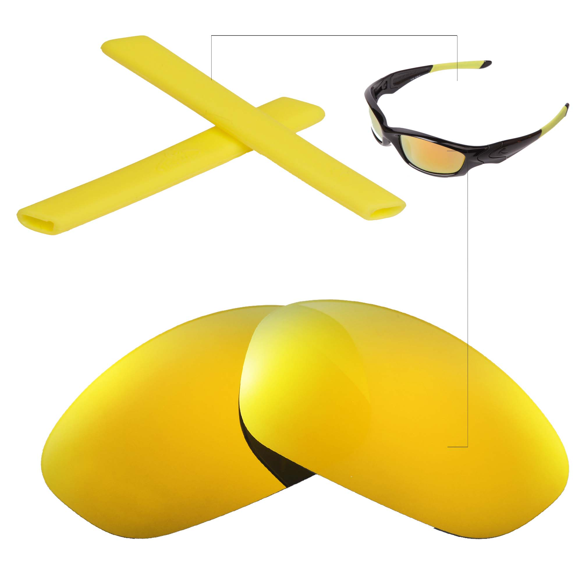 Oakley Straight Jacket Sunglasses  new walleva polarized 24k gold lenses yellow earsocks for oakley