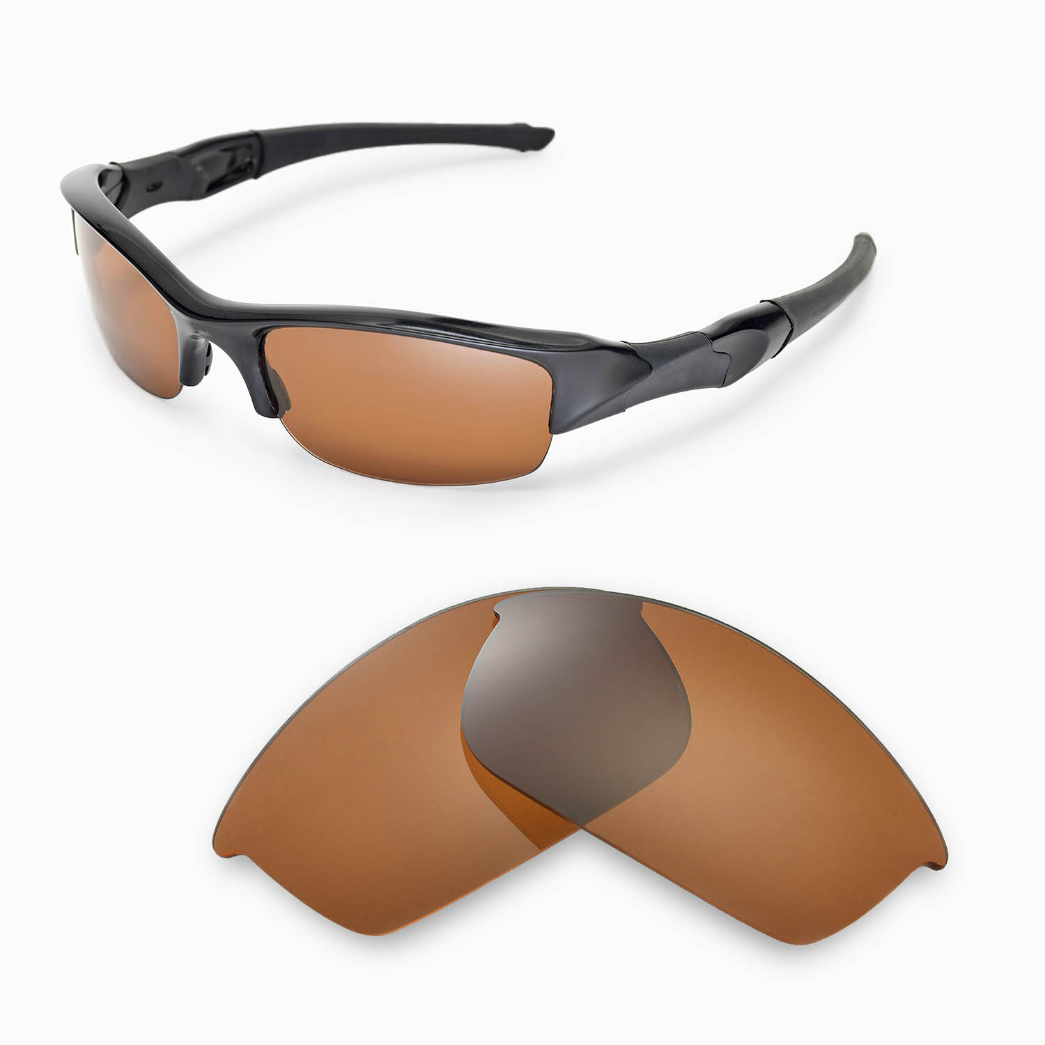 Oakley Flak Jacket Polarized Sunglasses  new walleva polarized brown replacement lenses for oakley flak