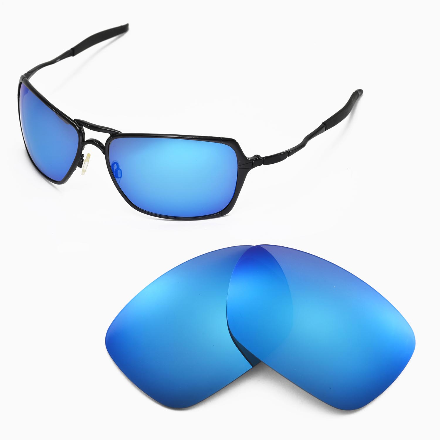 oakley inmate  New Walleva Polarized Ice Blue Replacement Lenses For Oakley ...
