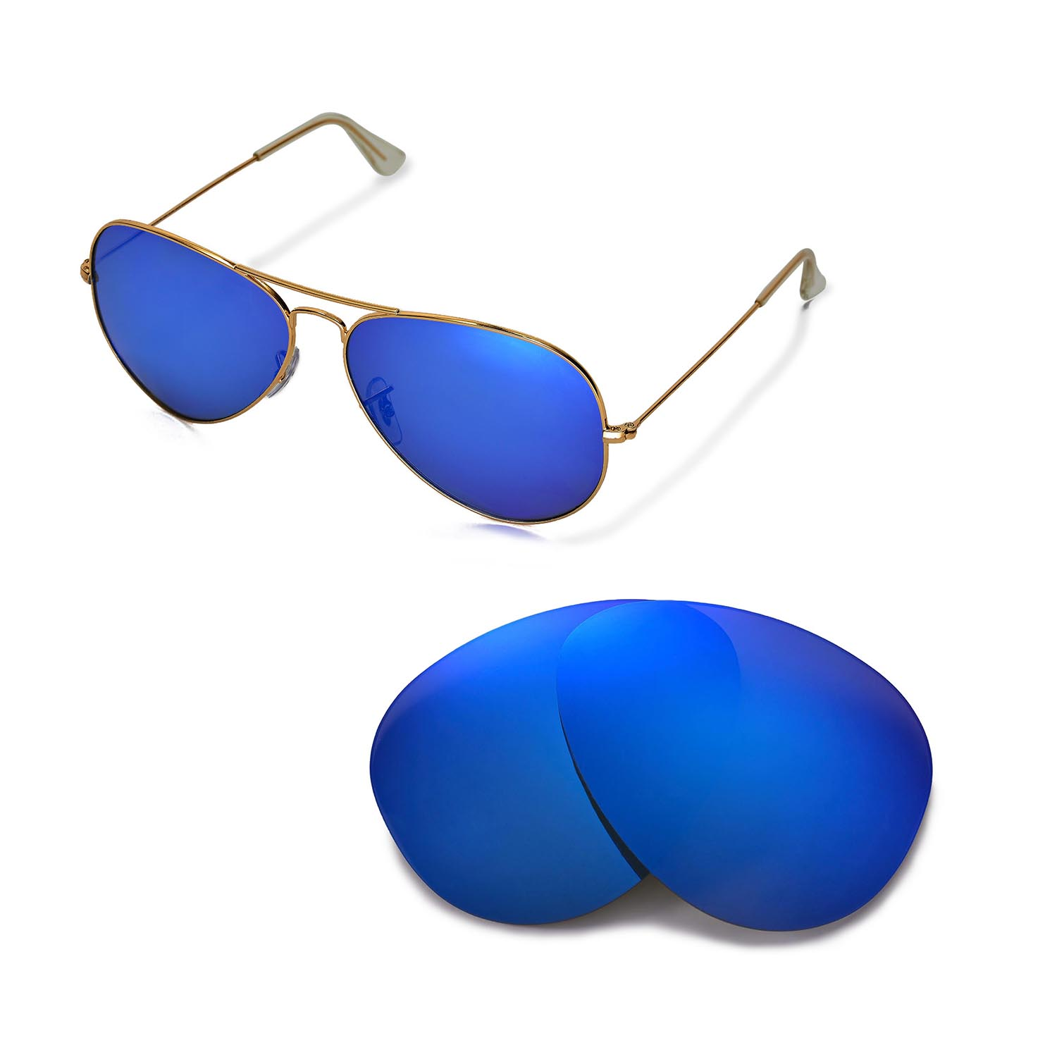 ray ban aviator black frame blue lens  New WL Polarized Ice Blue Lenses For Ray-Ban Aviator Large Metal ...