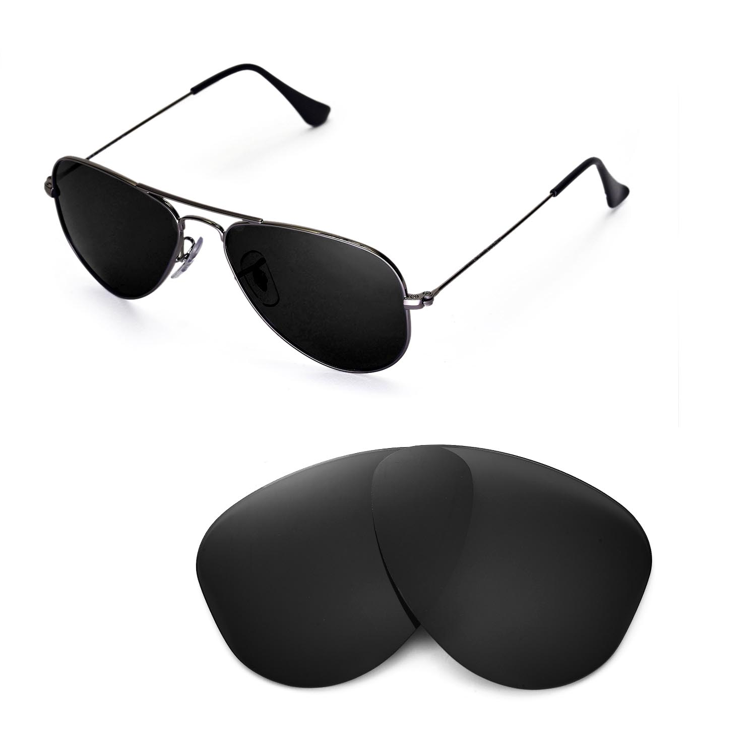 ray ban rb3044  new walleva polarized black lenses for ray ban aviator rb3044 small metal 52mm