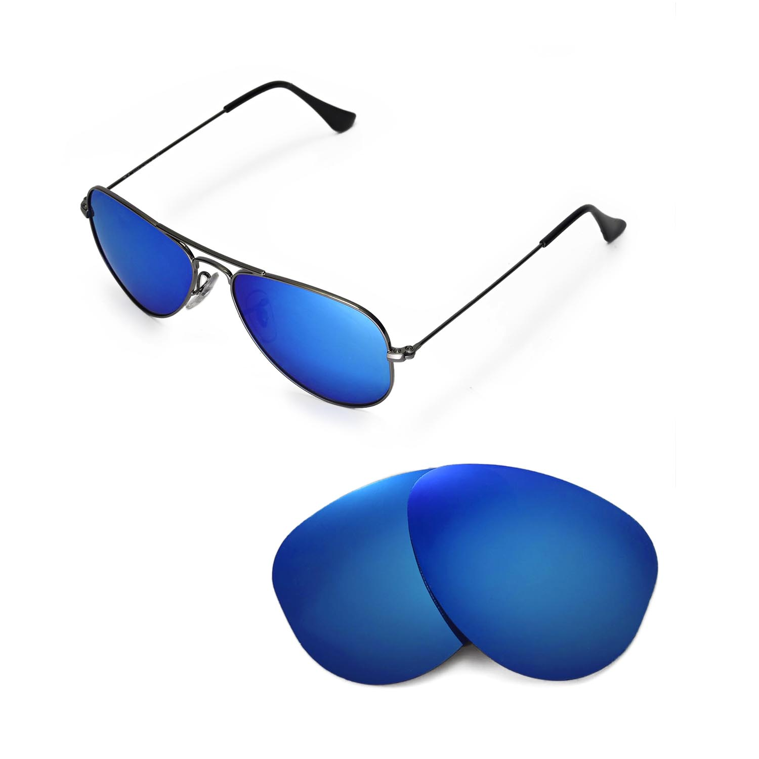 ray ban aviator blue glass  new walleva polarized ice blue lenses 4 ray ban aviator rb3044 small metal 52mm
