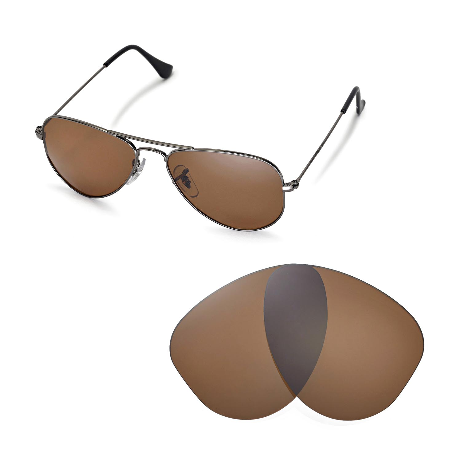 ray ban aviator small brown lens