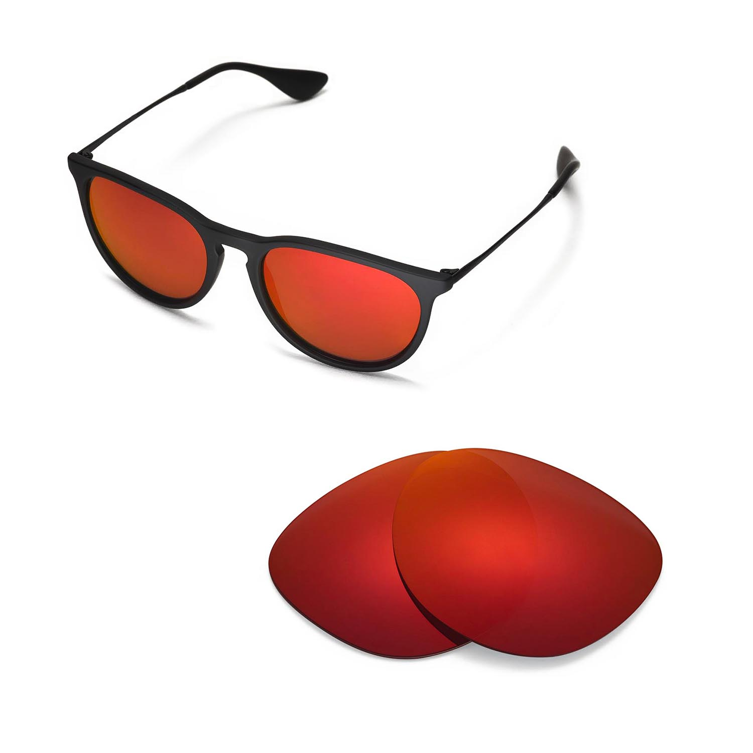 Walleva Polarized Fire Red Lenses for Ray-Ban Erika RB4171 54mm x1; Walleva Microfiber Lens Cleaning Cloth x1