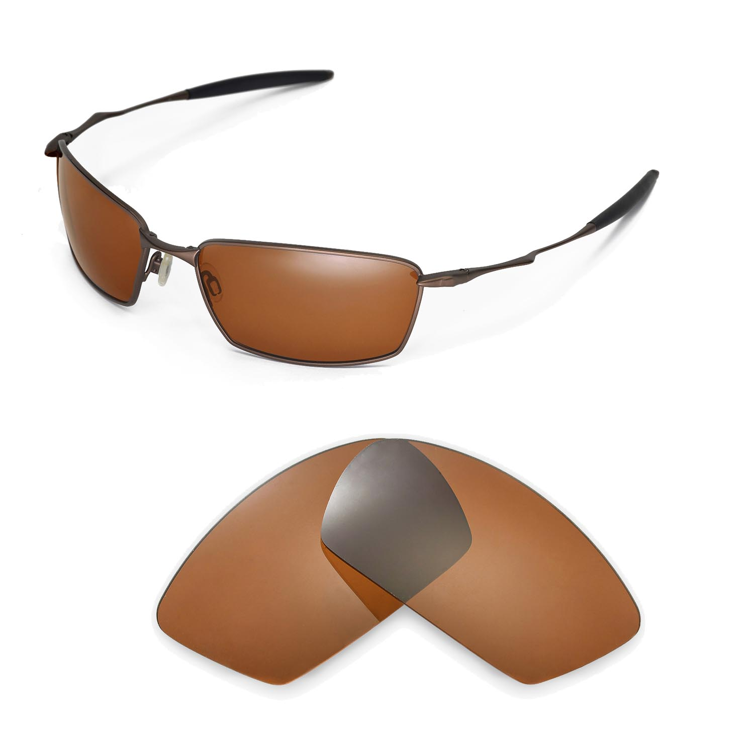 bb36a87434 Walleva Polarized Brown Replacement Lenses for Oakley Square Whisker  Sunglasses