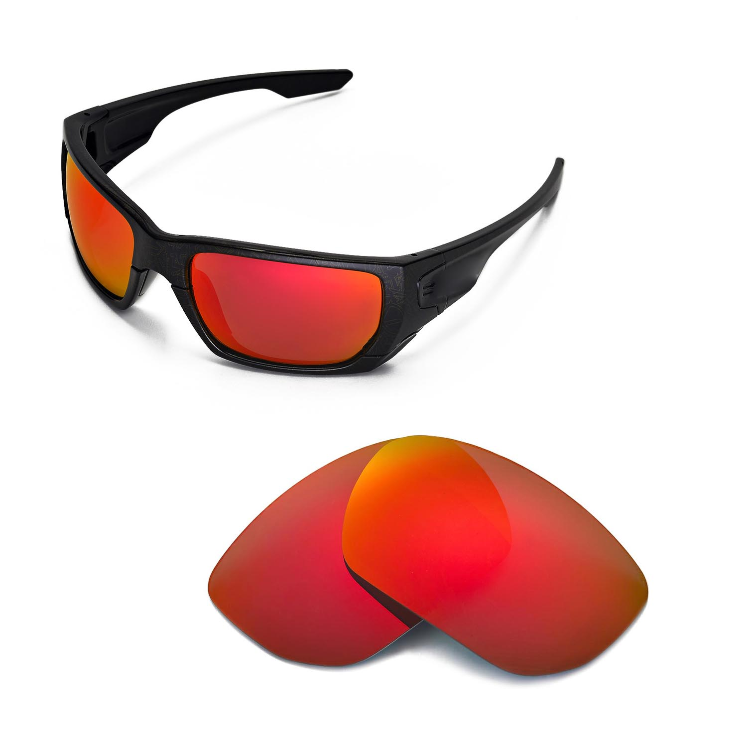 New Walleva Polarized Fire Red Lenses For Oakley Style ...