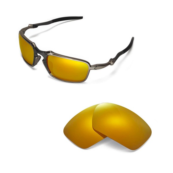 cd8b0eb66f New Walleva Polarized 24K Gold Replacement Lenses For Oakley Badman  Sunglasses