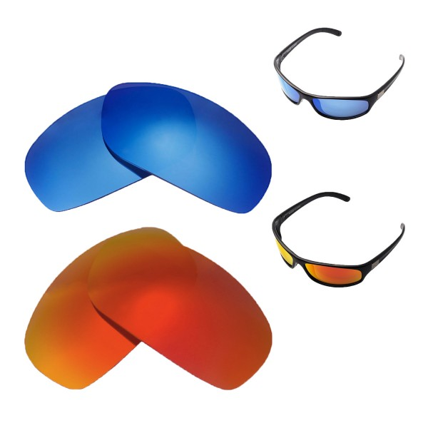 44faf78b02 New Walleva Fire Red +Ice Blue Polarized Replacement Lenses For ...
