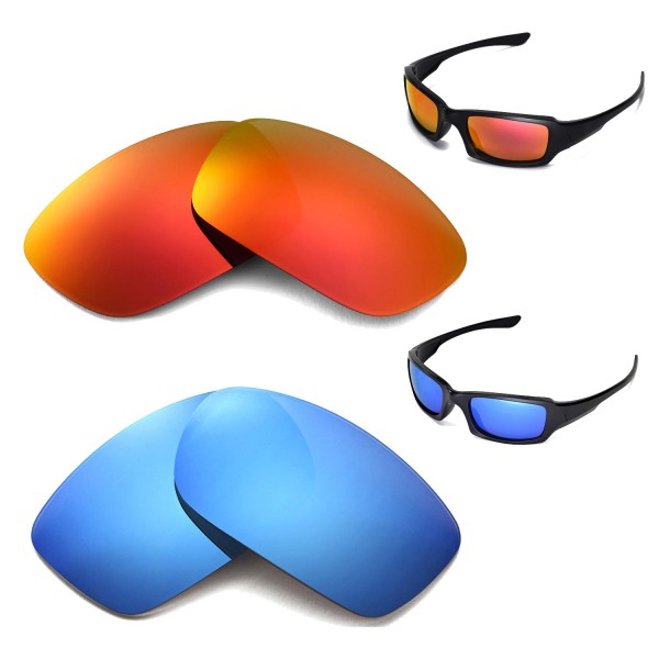 New Walleva Fire Red + Ice Blue Polarized Replacement Lenses For Oakley  Fives Squared Sunglasses d7e31bddc4cb