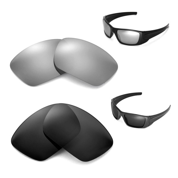 Walleva Polarized Titanium + Black Replacement Lenses for Oakley Fuel Cell  Sunglasses