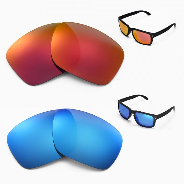 7a71bc9420 New Walleva Ice Blue + Fire Red Polarized Replacement Lenses For ...