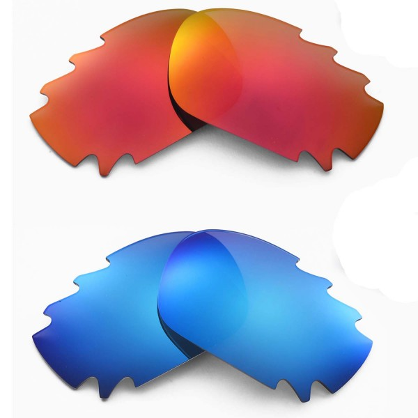 efd4fbb496 New Walleva Fire Red + Ice Blue Polarized Replacement Vented Lenses for  Oakley Jawbone Sunglasses. Color