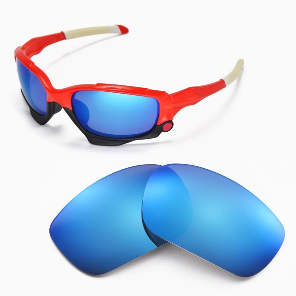 718c09a1c4 Walleva Polarized Ice Blue Replacement Lenses for Oakley Racing Jacket  Sunglasses