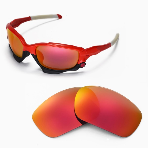 6a2511e8911 Walleva Fire Red Replacement Lenses for Oakley Jawbone Sunglasses