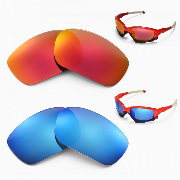 a8d5a6bfda8 Walleva Polarized Fire Red + Ice Blue Replacement Lenses for Oakley Racing  Jacket Sunglasses
