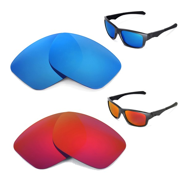 a6768a14a41 Walleva Polarized Fire Red+Ice Blue Replacement Lenses for Oakley ...