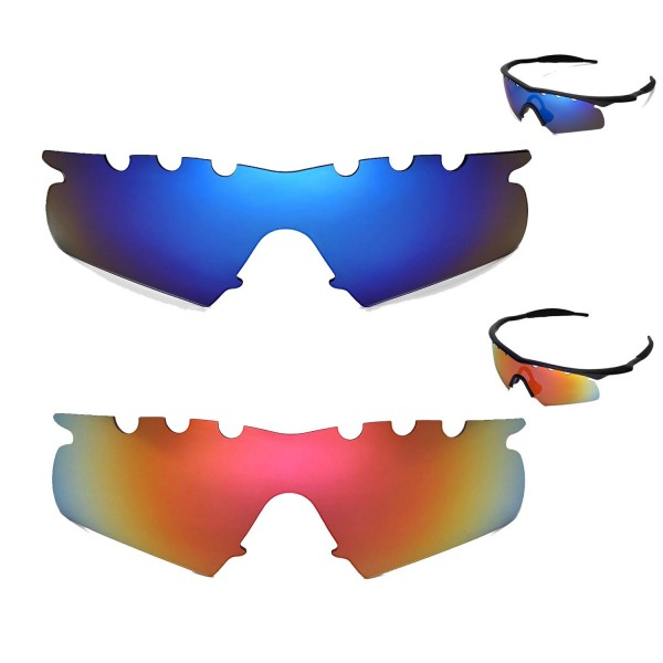 1a55e406a24 Walleva Polarized Fire Red + Ice Blue Vented Replacement Lenses for Oakley  M Frame Hybrid Sunglasses. Color