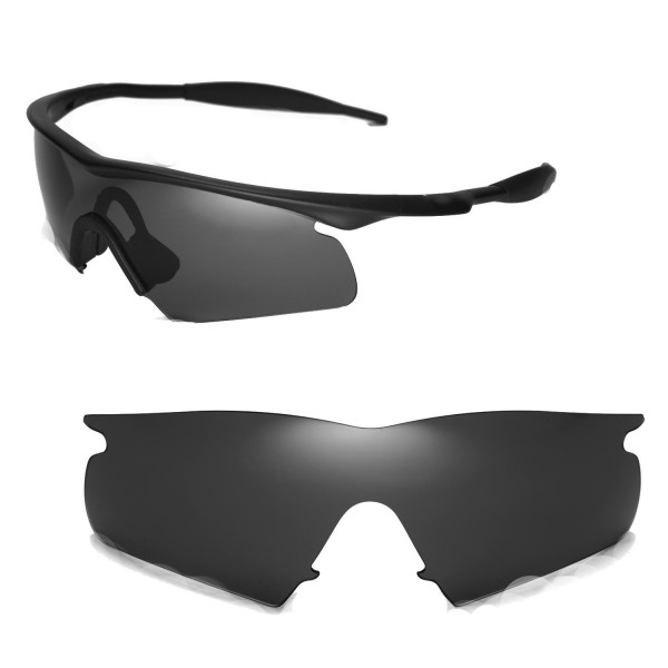 Walleva Replacement Lenses With Black Nosepad for Oakley M Frame Hybrid  Sunglasses - Multiple Options Available (Black - Polarized)
