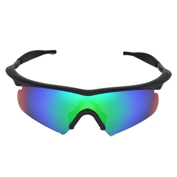0aef1a5e809 Walleva Replacement Lenses With Black Nosepad for Oakley M Frame Hybrid  Sunglasses - Multiple Options Available (Emerald Mirror Coated - Polarized)