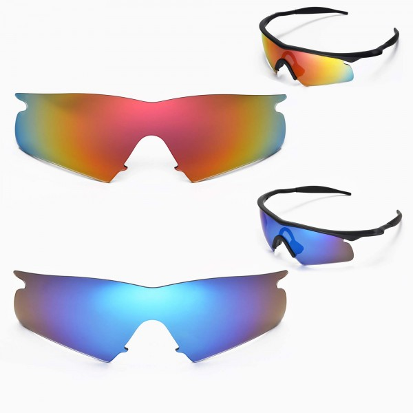 New Walleva Polarized Fire Red + Ice Blue Lenses For Oakley M Frame ...