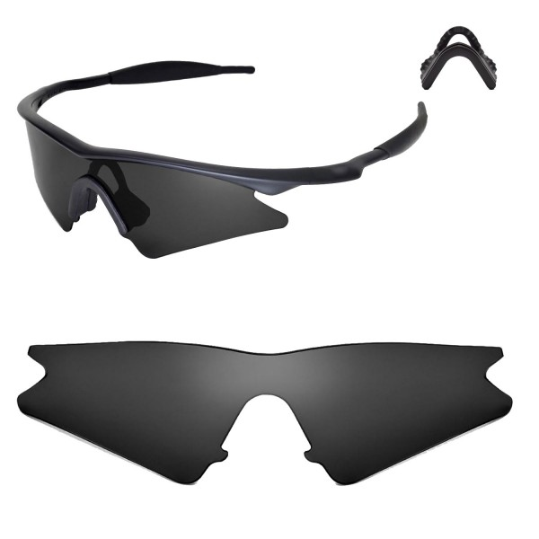 walleva polarized black replacement lenses with black nosepad for oakley m frame sweep sunglasses - M Frame Lenses