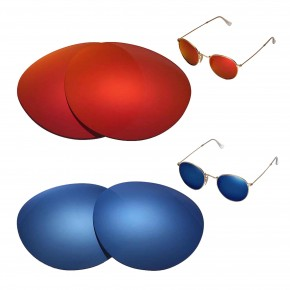 ad3ca61aada 1 Options. Ray-Ban Round Metal RB3447 50mm. New Walleva Polarized Fire Red  + Ice Blue Replacement Lenses ...