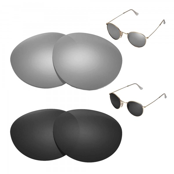 New Walleva Titanium + Black Polarized Replacement Lenses For Ray-Ban Round  Metal RB3447 50mm Sunglasses 40646d3613be